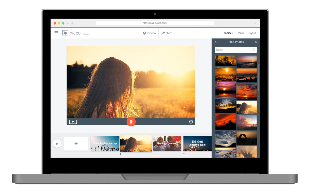 Adobe Spark makes it easy to produce quick professional looking videos.